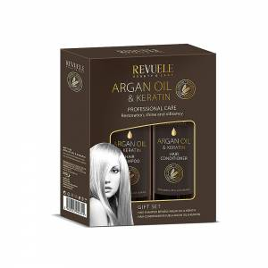 ARGAN OIL & KERATIN GIFT SET (HAIR SHAMPOO 250ml + HAIR MASK BALM 250ml)